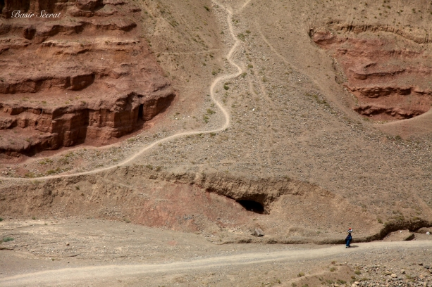 Bamiyan, Afghanistan. A woman who carries the dishes to wash in a raceway.Life in the villages of Bamiyan is hard in many ways. One major source of hardship is the lack of safe water.